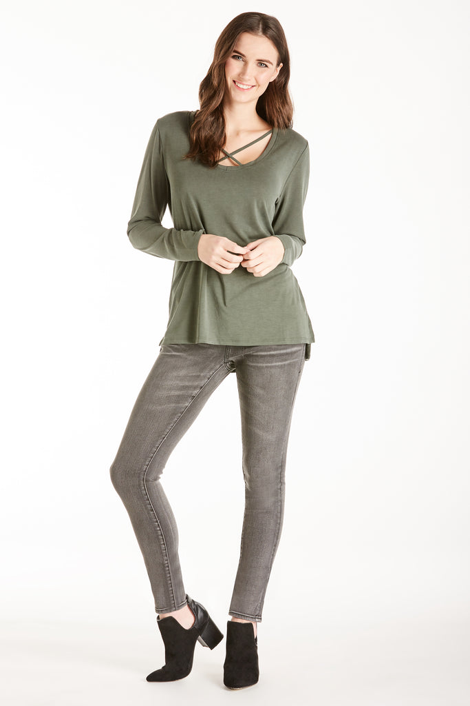 GREY CROSSED FRONT TOP OLIVE