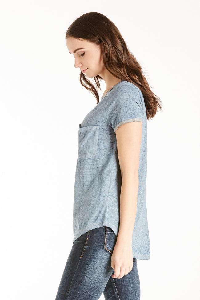 GIA RINGER TEE PACIFIC / HEATHER GREY