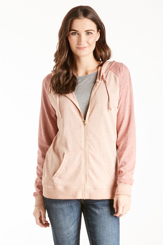 INGRID COLOR BLOCK HOODY DUSTY MAUVE / DARK MAUVE