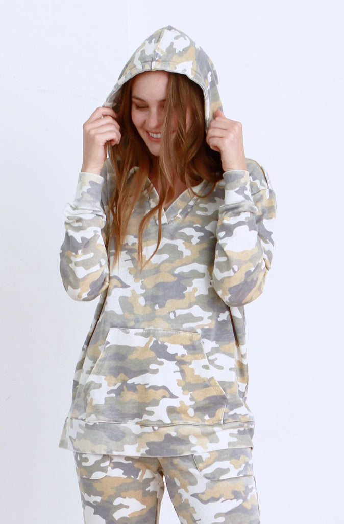 TAMMY VINTAGE WASHED HOODIE WHITE CAMO