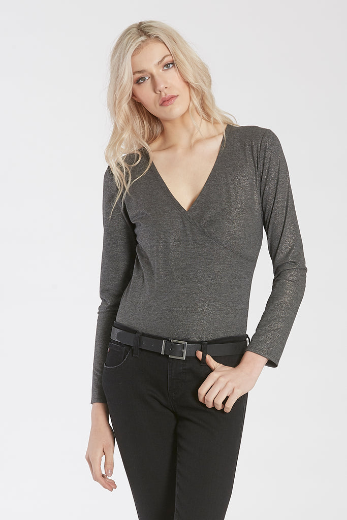 JAMIE LONG SLEEVE BODY SUIT W/SNAP CLOSURE CHARCOAL