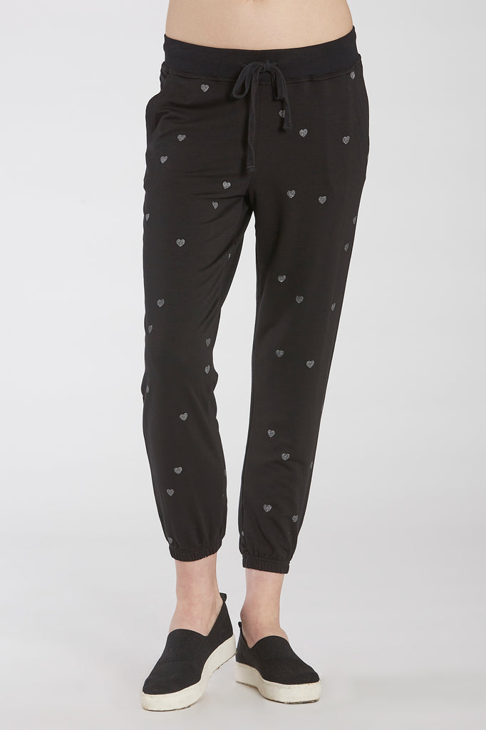 ARLA PRINTED HEART JOGGER BLACK