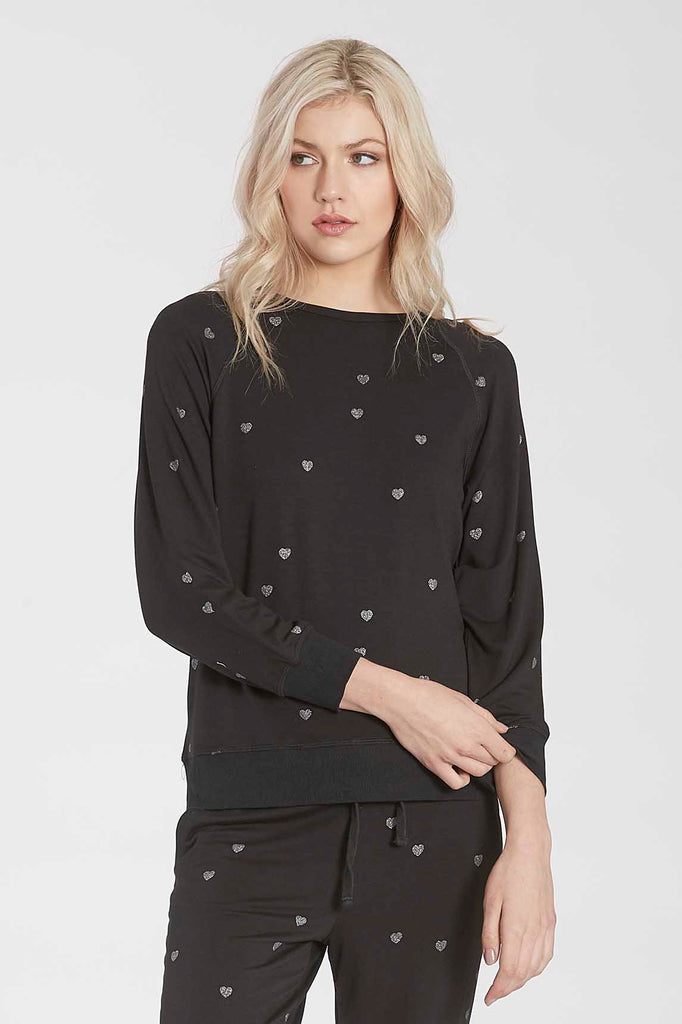 ANABELLA PRINTED HEART CREW NECK PULLOVER BLACK