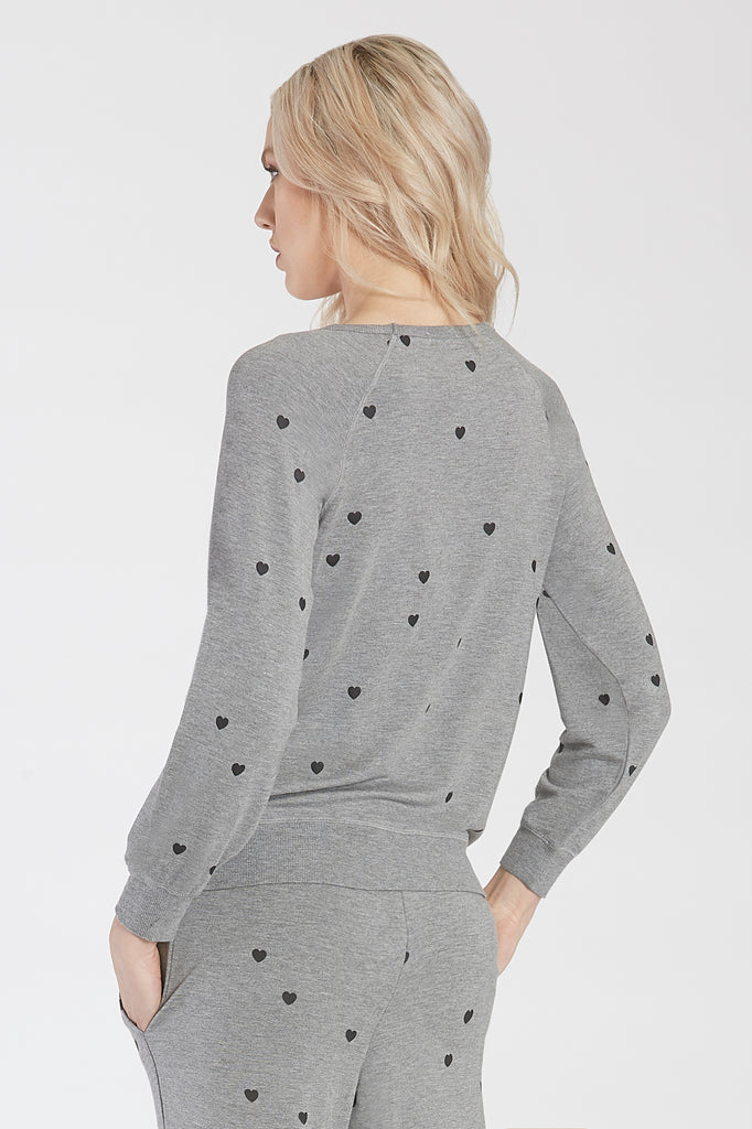 ANABELLA PRINTED HEART CREW NECK PULLOVER HEATHER GREY