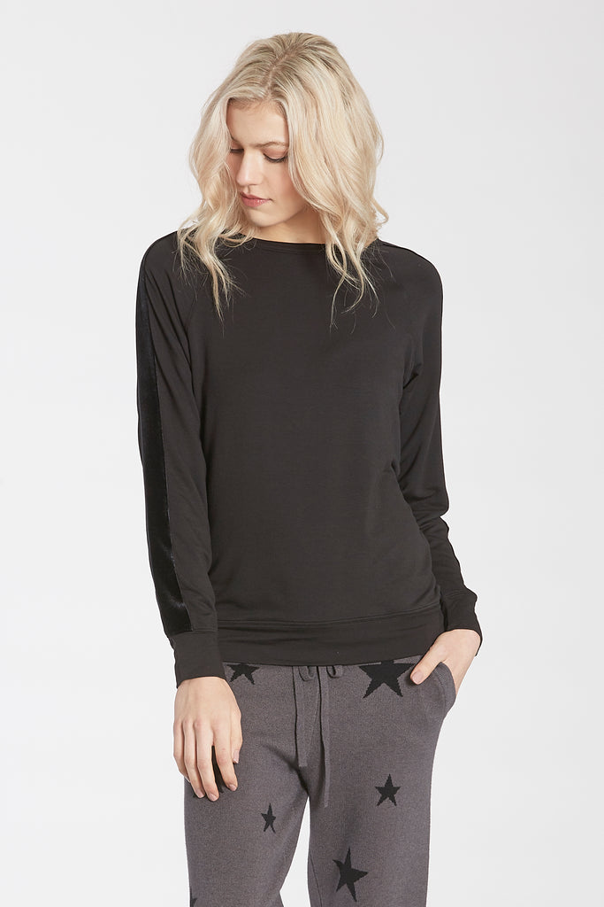 STEVIE CREW NECK PULLOVER W/VELVET STRIPE ACCENT BLACK
