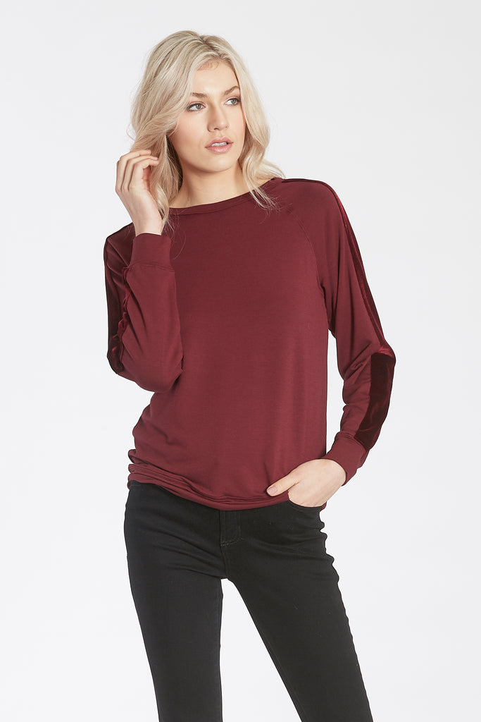 STEVIE CREW NECK PULLOVER W/VELVET STRIPE ACCENT BORDEAUX
