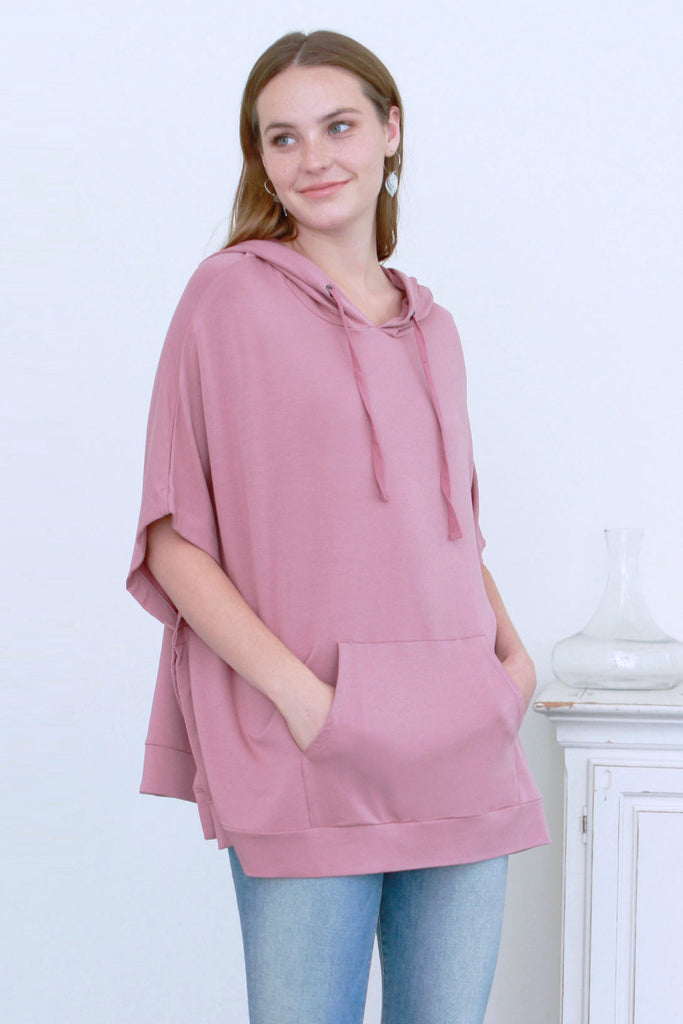 SYDNI HOODED PONCHO W/ KANGAROO POCKET ROSEBUD
