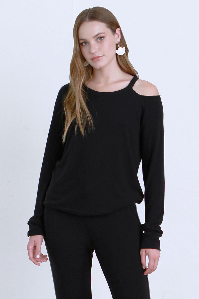 ESTEE BRUSHED HACCI PULLOVER BLACK