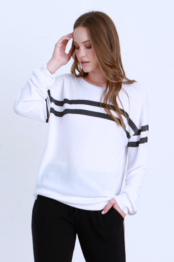 NINA BRUSHED HACCI CREW NECK PULLOVER WHITE