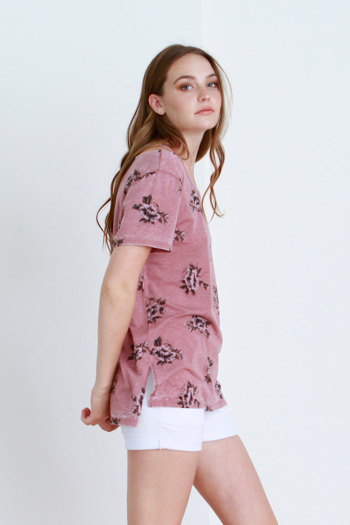 CLAIRE PRINTED VINTAGE WASHED TEE MERLOT