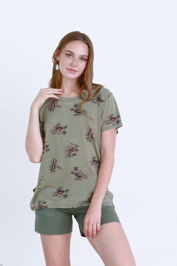 CLAIRE PRINTED VINTAGE WASHED TEE TEA LEAF