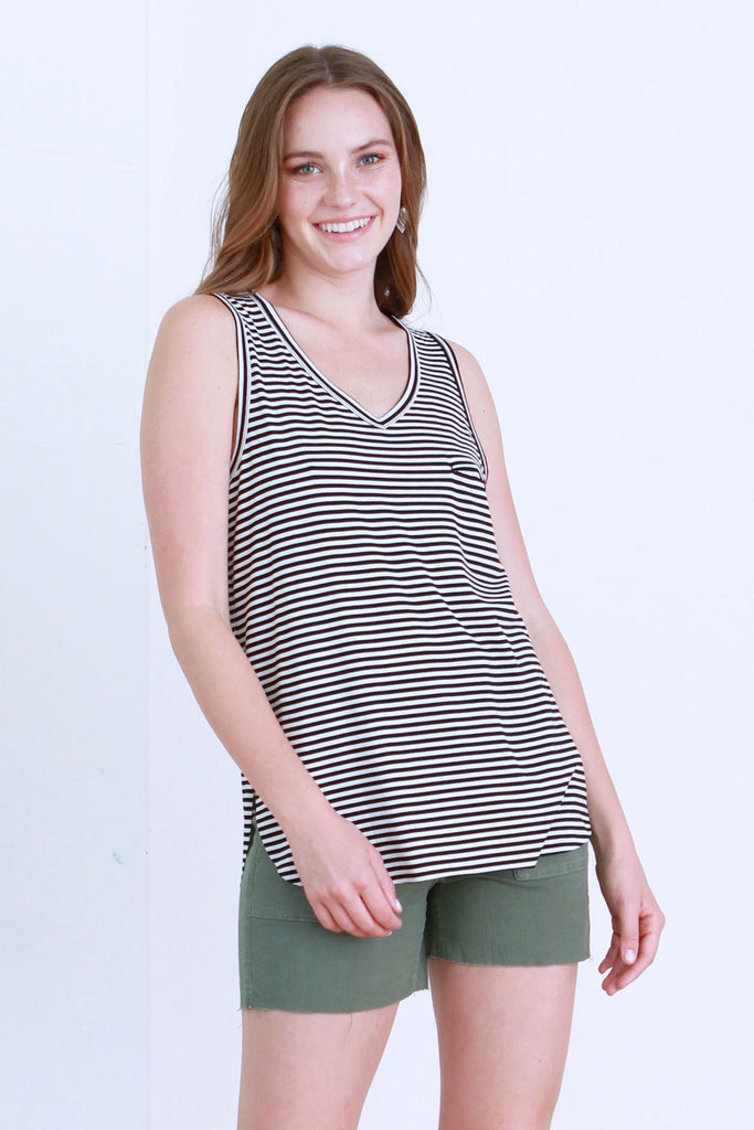 ROCKI STRIPE TANK BLACK / WHITE