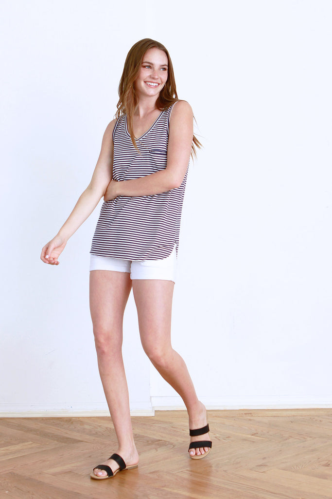 ROCKI STRIPE TANK NAVY / WHITE