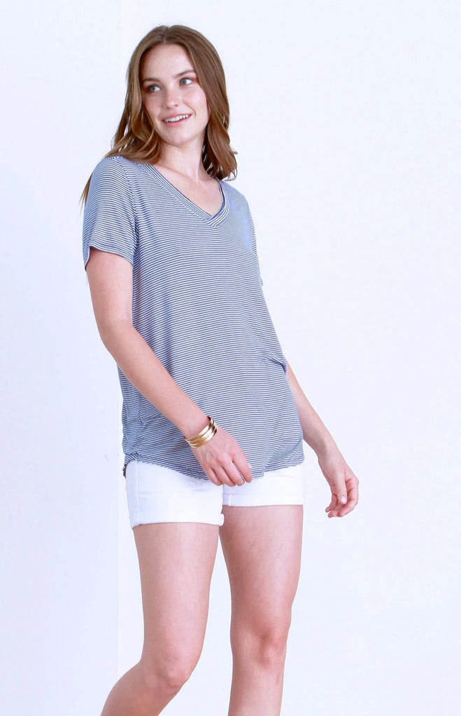 EMMA DOUBLE VNECK TEE FRENCH BLUE & WHITE