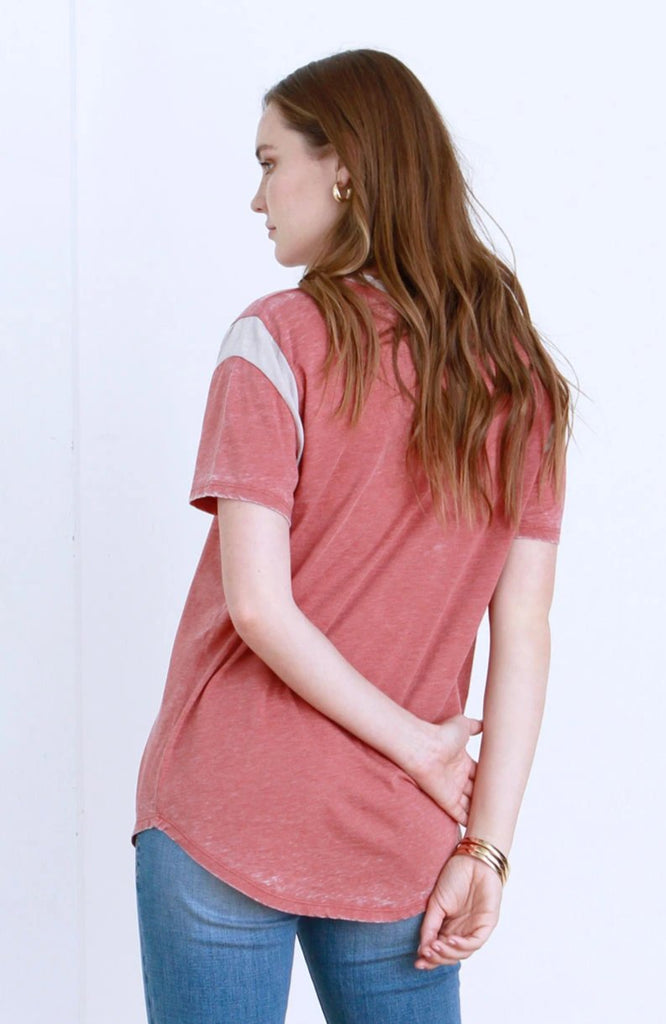 MAY VINTAGE WASHED TEE CLAY & PEBBLE