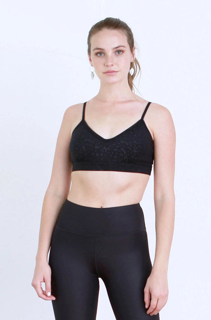 TALIA LEOPARD EMBOSSED ATHLETIC BRALETTE BLACK