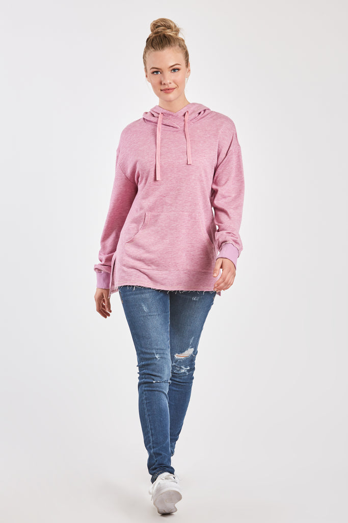 MACKENZIE FRENCH TERRY SWEATSHIRT HEATHER LILAC