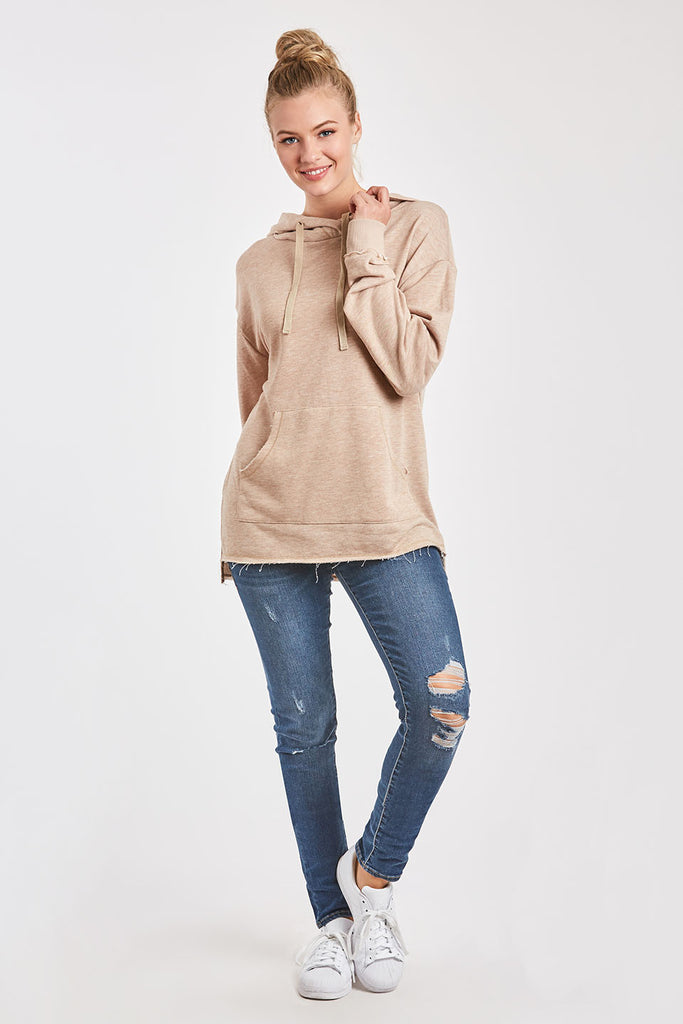 MACKENZIE FRENCH TERRY SWEATSHIRT HEATHER TAN