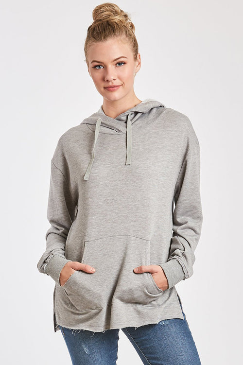 MACKENZIE FRENCH TERRY SWEATSHIRT HEATHER GREY