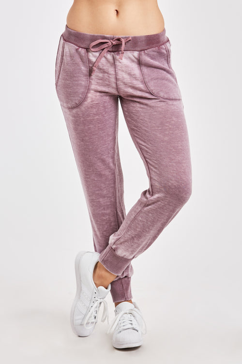 ANGELA BURNOUT JOGGER W/ PKT BURGUNDY