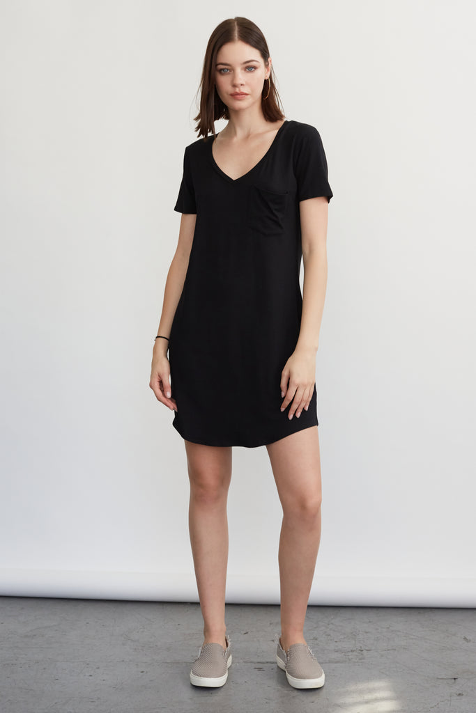 CASSIDY SOLID TSHIRT DRESS BLACK