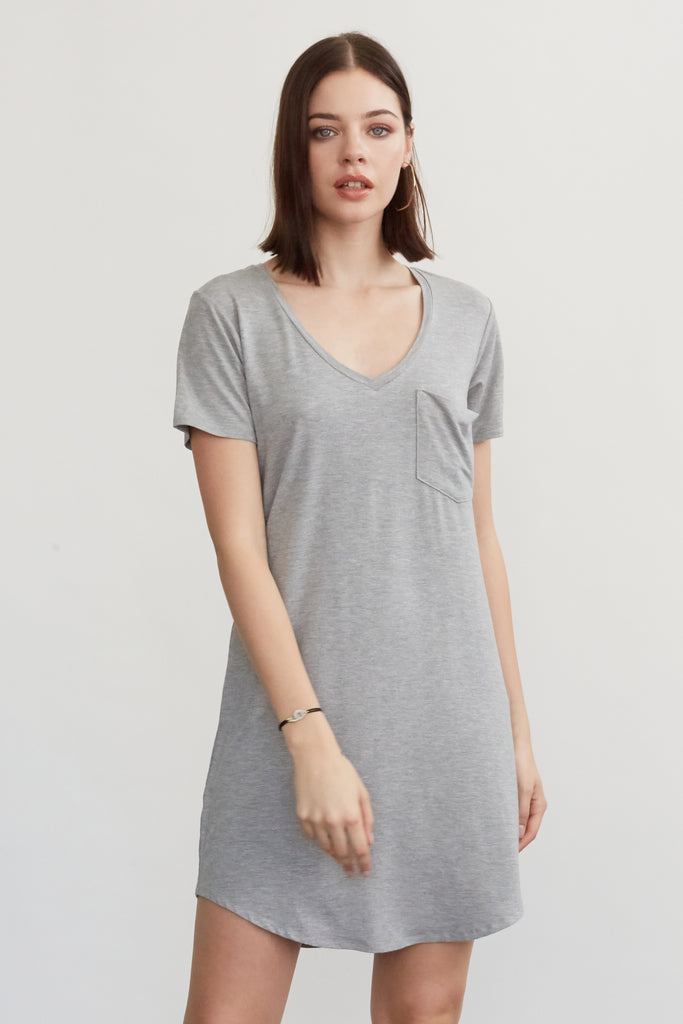 CASSIDY SOLID TSHIRT DRESS HEATHER GREY