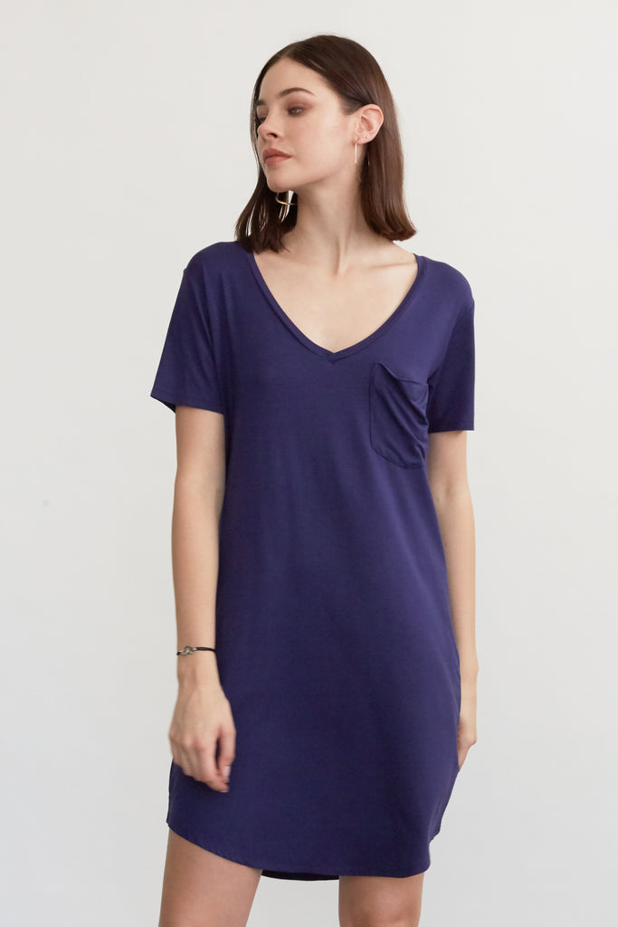 CASSIDY SOLID TSHIRT DRESS NAVY