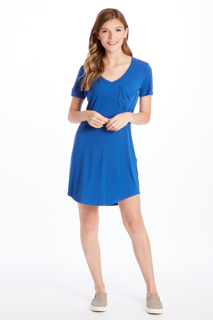CASSIDY TEE SHIRT DRESS ROYAL