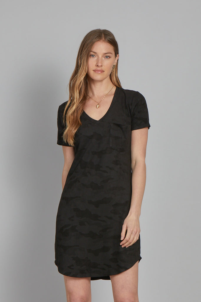 CASSIDY SUEDE DRESS BLACK CAMO