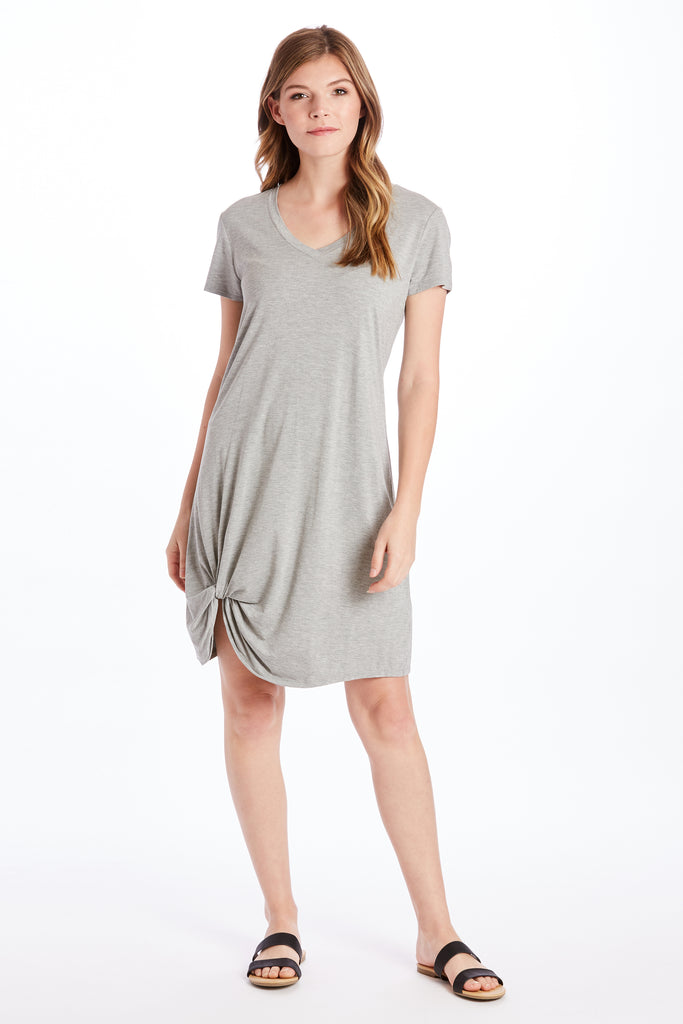 HOPE VNECK SIDE KNOT DRESS HEATHER GREY
