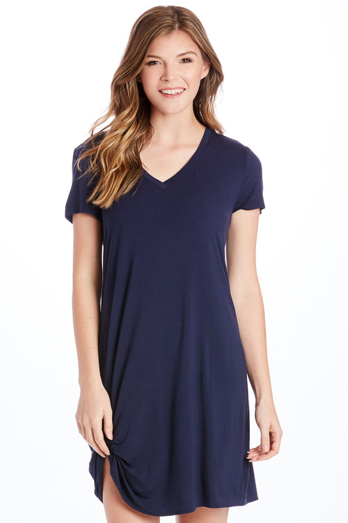 HOPE VNECK SIDE KNOT DRESS NAVY