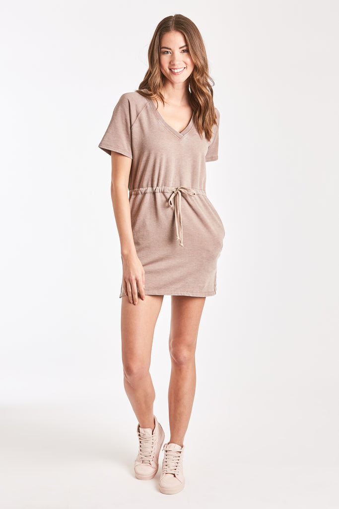 ADA BURNOUT RAGLAN DRESS LIGHT MOCHA