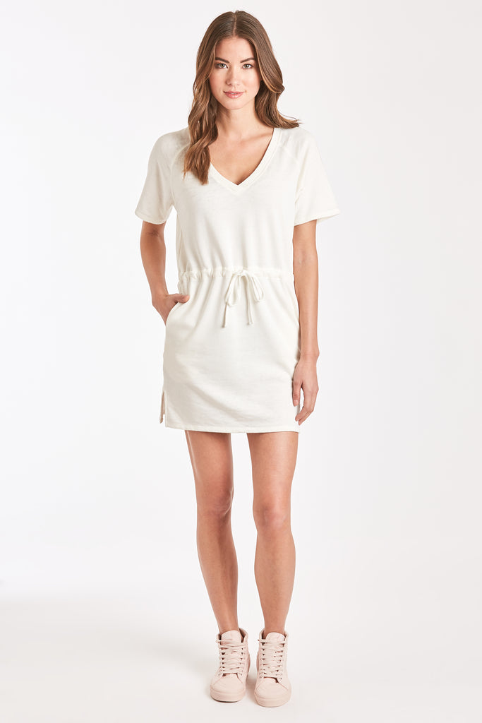 ADA BURNOUT RAGLAN DRESS WHITE