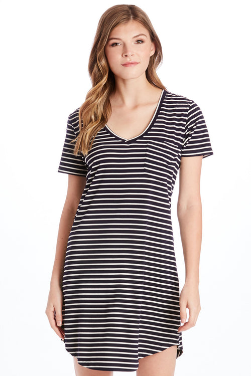 CASSIDY STRIPE TEE SHIRT DRESS NAVY/WHITE