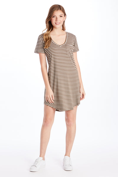 CASSIDY STRIPE TEE SHIRT DRESS OLIVE/WHITE