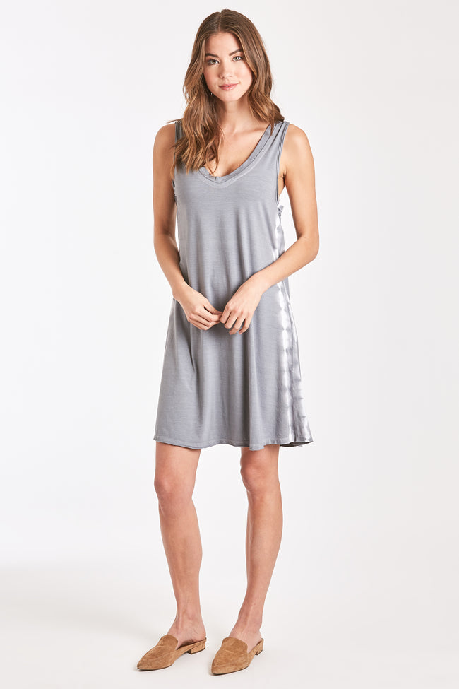 NADIA TIE DYE DRESS GREY-WHITE