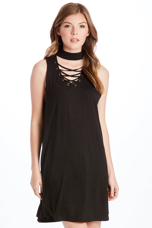 KENDRA LACE UP TANK DRESS BLACK