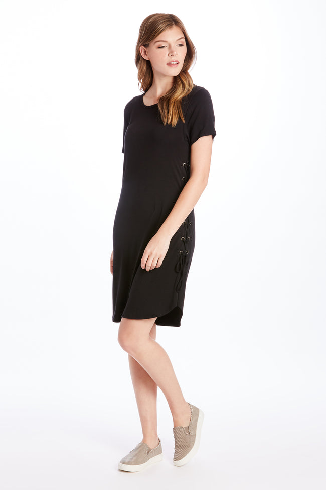 CADENCE SIDE LACE DRESS BLACK