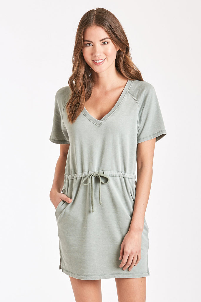 ADA BURNOUT RAGLAN DRESS FERN