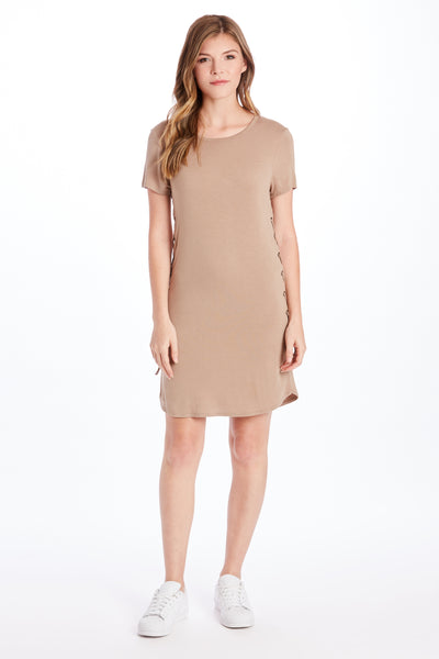 CADENCE SIDE LACE DRESS HAZELNUT