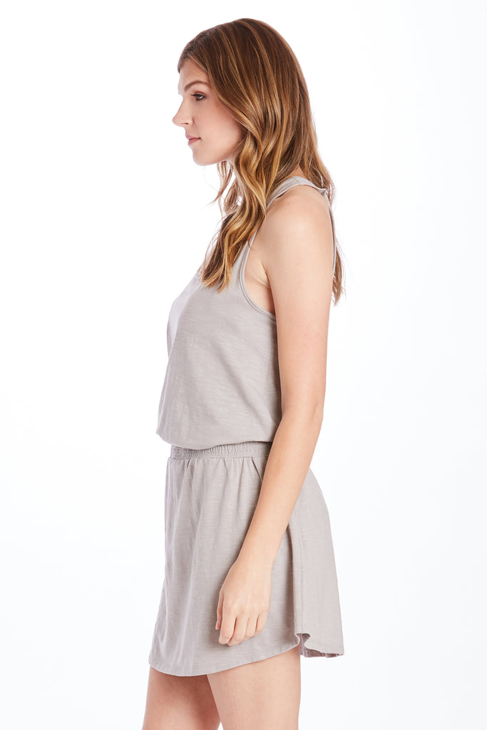 KAMILA SMOCK WAIST DRESS HEATHER GREY