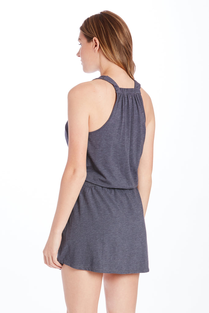 KAMILA SMOCK WAIST DRESS HEATHER NAVY