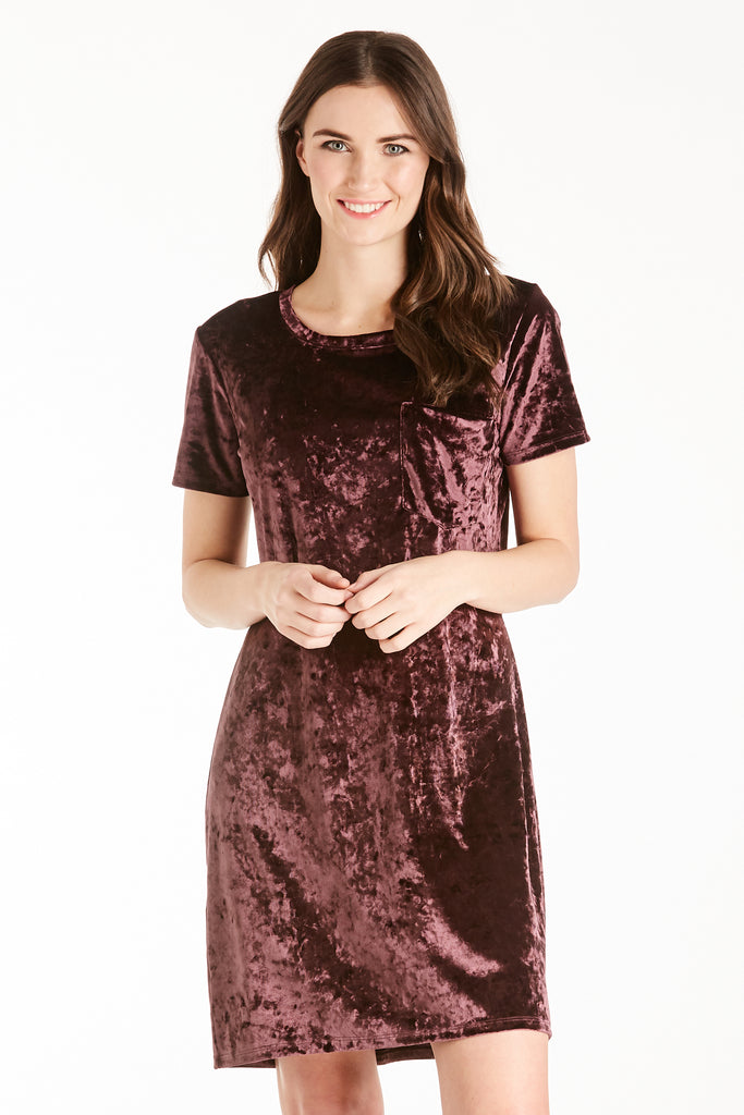 ALEX VELVET DRESS PLUM