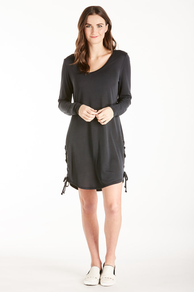 JORDAN LACE UP SIDE SEAM DRESS BLACK