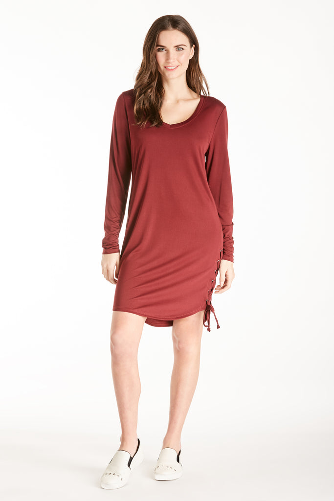 JORDAN LACE UP SIDE SEAM DRESS BORDEAUX