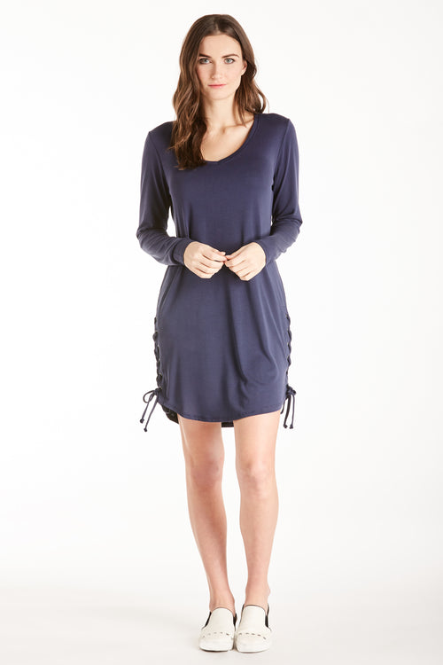 JORDAN LACE UP SIDE SEAM DRESS NAVY