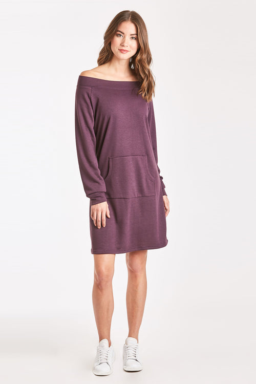 MARYJANE OFF SHOULDER EGGPLANT