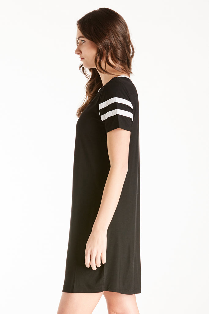 COCO BASEBALL TEE DRESS BLACK / WHITE