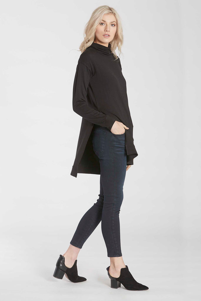 IMOGEN FUNNEL NECK LONG SLEEVE TUNIC W/SIDE VENTS BLACK