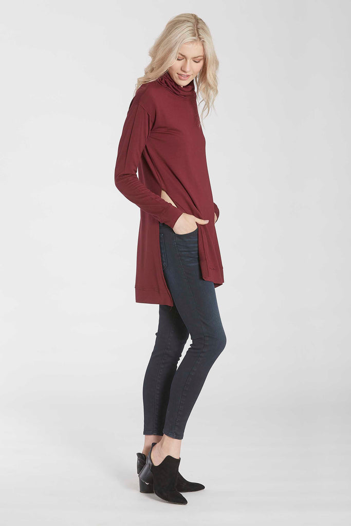 IMOGEN FUNNEL NECK LONG SLEEVE TUNIC W/SIDE VENTS BORDEAUX